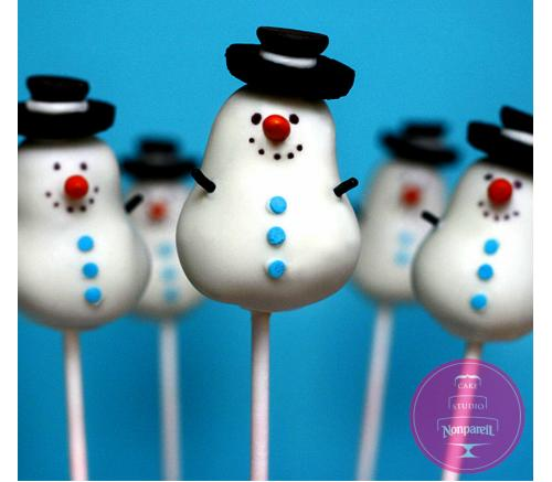 Кейк попс Снеговики в шляпах