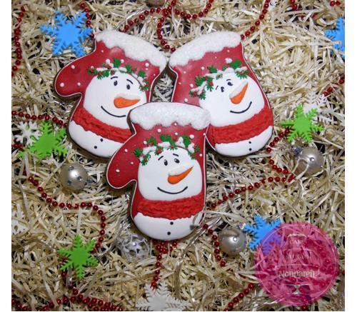 Пряники Праздничные Варежка снеговика