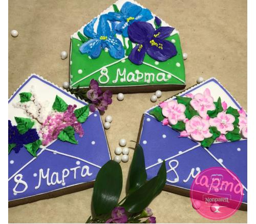 Пряники Праздничные Конверт с цветами