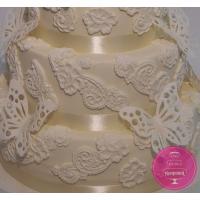 Торт Свадебный Кружева и бабочки
