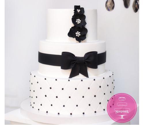 Торт Свадебный В черно-белых тонах