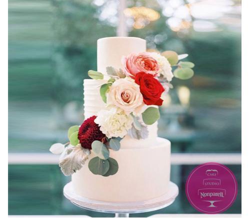 Торт Свадебный  В красном и персиковых тонах