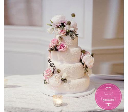 Торт Свадебный Розовые розы с пионами