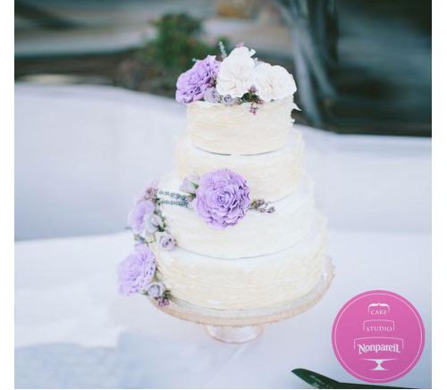 Торт Свадебный Сиреневые цветы