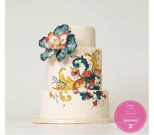 Торт Свадебный Расписной с цветком