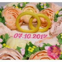 Торт Свадебный С кольцами и цветами