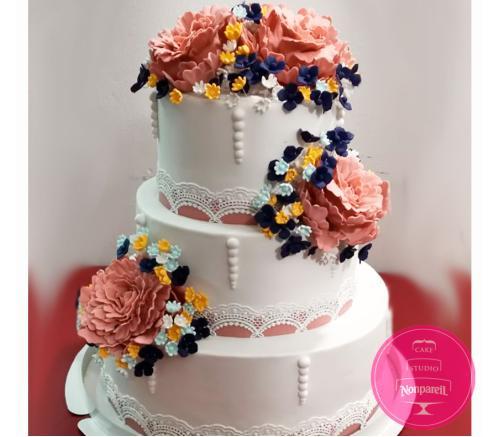 Торт Свадебный Цветочный 2
