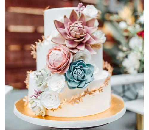 Торт Свадебный С сукулентами