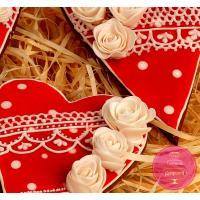 Пряники Праздничные Сердца с обьемными розами