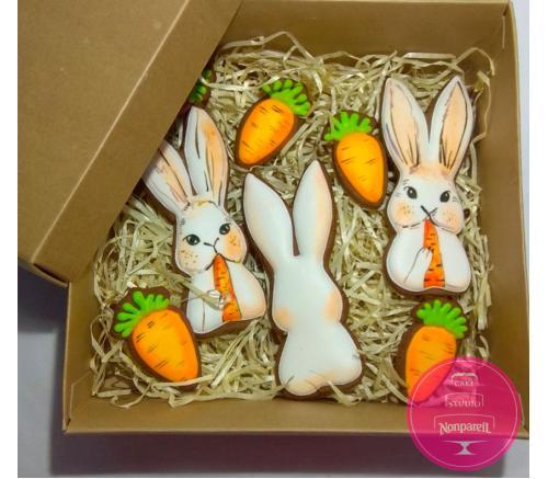 Пряники Праздничные Кролики с морковкой (набор)