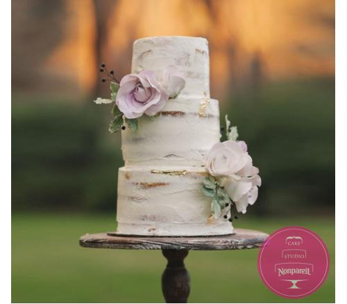 Торт Свадебный В кремовом оформлении с цветами