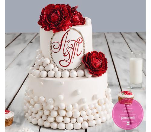 Торт Свадебный Бордовый пион