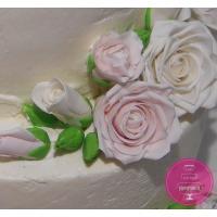 Торт Свадебный Нежный кремовый с цветами