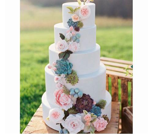 Торт Свадебный С сукулентами 1